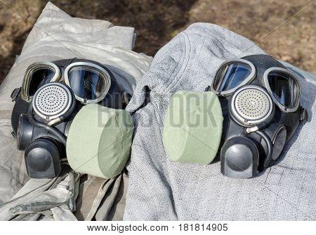 Two Military Gas Masks Closeup
