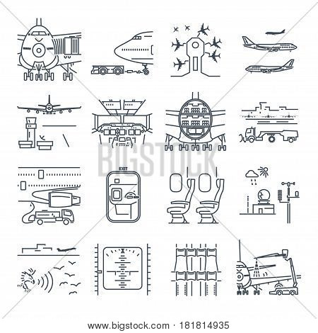 set of thin line icons airport and airplane ground handling plane maintenance
