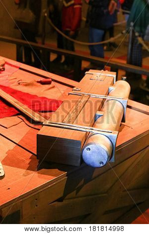 Osaka, Japan - Feb 12 2016:Attack on Titan at Universal Studios japan,The 3-D Maneuver Gear from Shingeki no Kyojin
