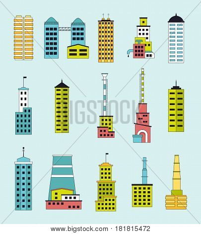 Skyscrapers and factories set industrial city constructor. Collection of tall modern buildings and industrial plants with chimneys for town creation. EPS10 vector illustration in flat style.