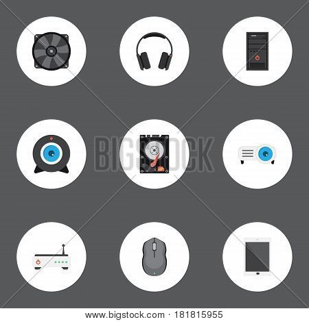 Flat Control Device, Hard Disk, Router And Other Vector Elements. Set Of PC Flat Symbols Also Includes Peripheral, Web, Tablet Objects.