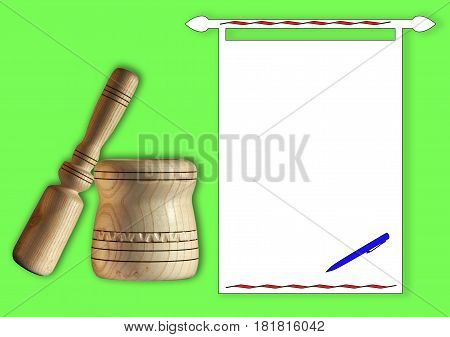 A wooden mortar with a pestle for grinding spices and a clean sheet for recording recipes for preparing healthy food
