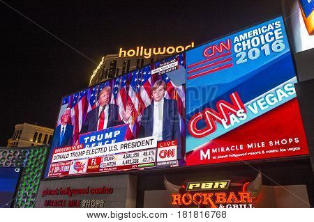 LAS VEGAS - NOV 08 : Election night in Las Vegas strip on November 08 2016 CNN election broadcasts were projected on a giant screens