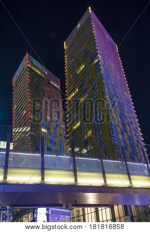 LAS VEGAS - NOV 24 : The tilted Veer Towers in Las Vegas on November 24 2016. Veer Towers are twin 37-story 480-foot residential towers located within CityCenter on the Las Vegas Strip