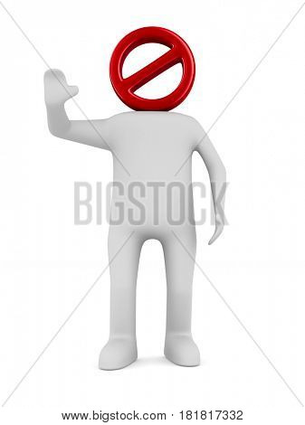 man on white background. Isolated 3D illustration