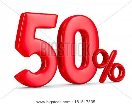 Fifty percent on white background. Isolated 3D illustration
