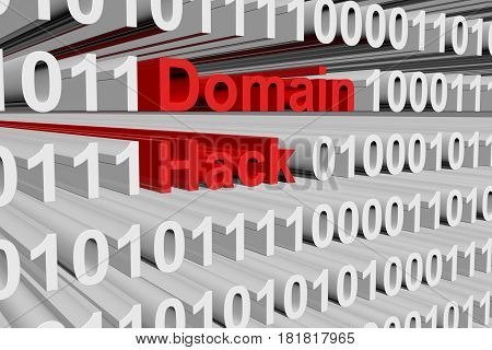 Domain hack in the form of binary code, 3D illustration