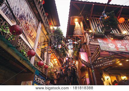 Jioufen,taiwan - 28 ,dec, 2014: Night Scene Of Jioufen Village In Taiwan.