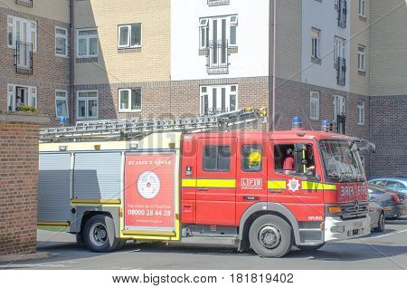 Chelsea London United Kingdom - 8 April 2017: London Fire Brigade Ambulance turning out of road
