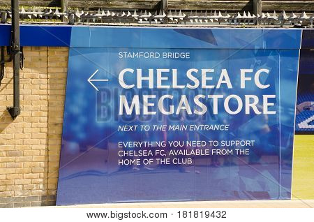 Chelsea London United Kingdom - 8 April 2017: Chelsea megastore flag