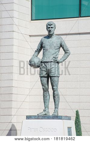 Chelsea London United Kingdom - 8 April 2017: Statue of Peter Osgood Chelsea FC legend outside Stamford Bridge Ground