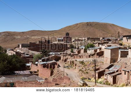 Mining town of Pulacayo in the Altiplano Bolivia