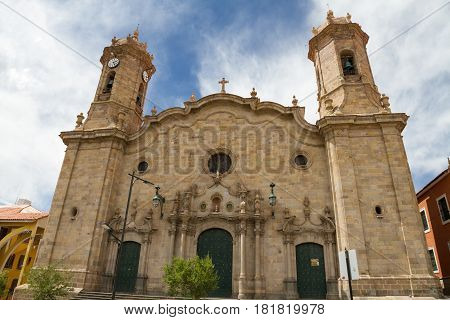 Baroque facade of Cathedral of Potosi Altiplano Bolivia