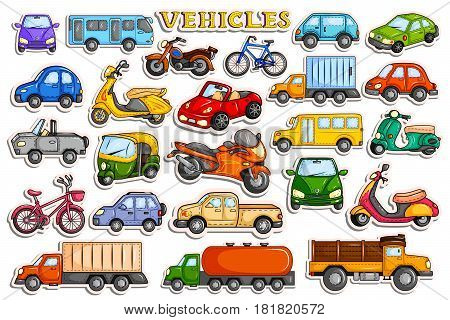 vector illustration of different means of transportation vehicle in sticker style