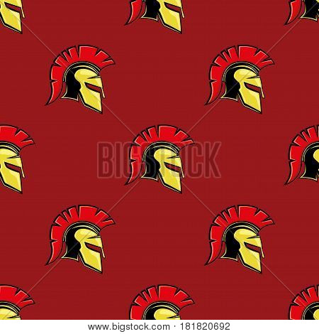 Red seamless pattern with golden spartan helmets.
