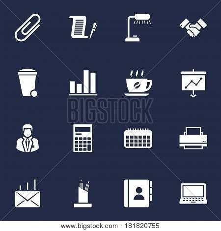 Set Of 16 Bureau Icons Set.Collection Of Calculator, Mail, Diagram And Other Elements.