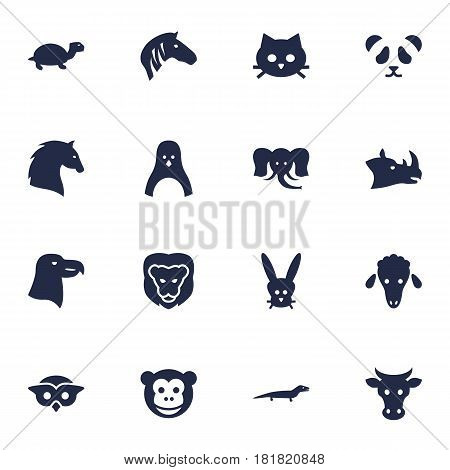 Set Of 16 Brute Icons Set.Collection Of Steed, Sea Bird, Mutton And Other Elements.