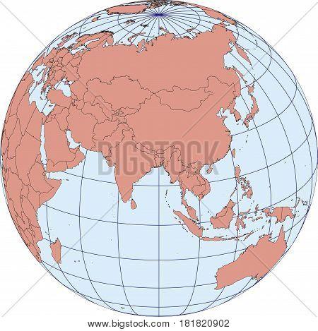 Asia Earth Globe Map