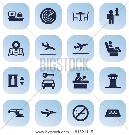 Set Of 16 Airplane Icons Set.Collection Of Aircraft, Letdown, Forbidden And Other Elements.