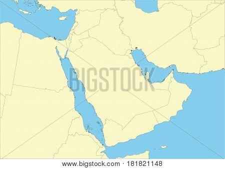 Map Of Arabian Peninsula Or Arabia