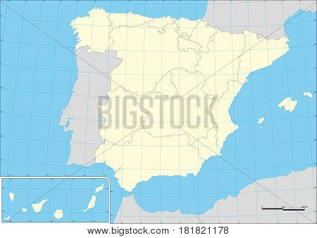 Map Of Spain And Autonomous Communities Wtih Graticule