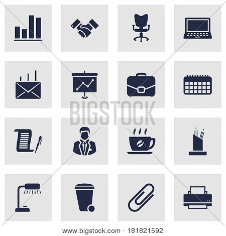 Set Of 16 Service Icons Set.Collection Of Manager, Laptop, Pencil Stand Elements.
