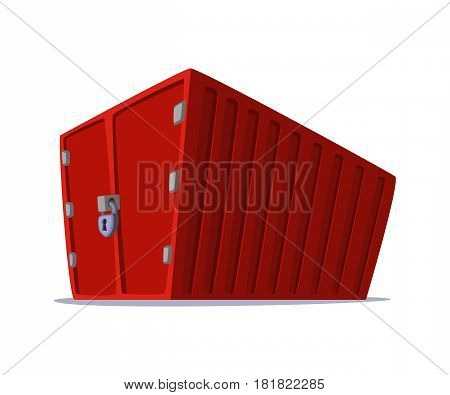 Concept cartoon illustration of cargo container for shipping and transportation work isolated on white background