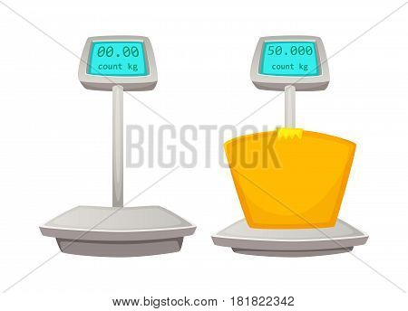 Storage scales. Cartoon vector illustration of Weighing goods.