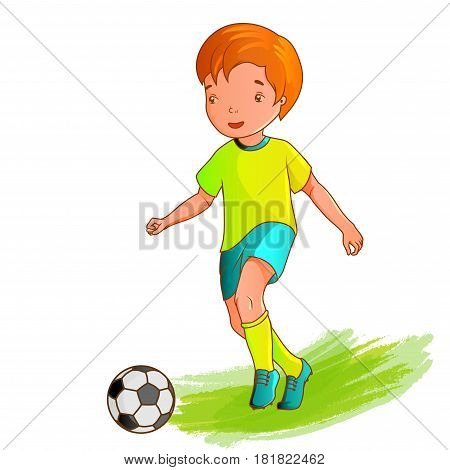 Cartoon boy playing soccer on a white background