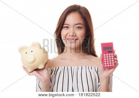 Asian Woman With Calculator And Piggy Bank.
