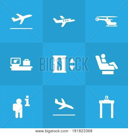 Set Of 9 Aircraft Icons Set.Collection Of Resolver, Rectifier, Aircraft And Other Elements.