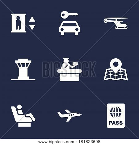 Set Of 9 Land Icons Set.Collection Of Passport, Security, Chopper And Other Elements.