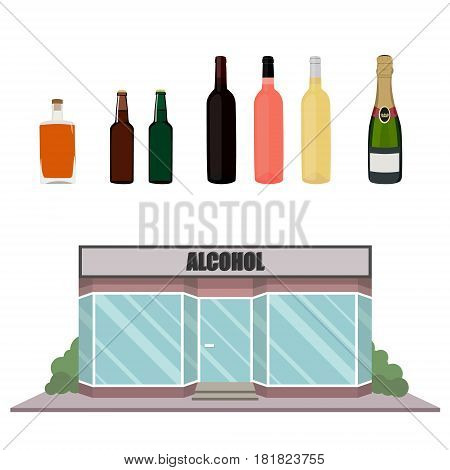 Vector illustration set collection of alcohol bottles. Alcohol drinks icons. Street local wine bar building shop. European bar facade. Pub storefront
