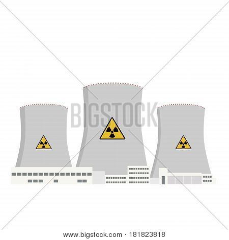 Vector illustration nuclear power plant and factory. Nuclear energy industrial concept. Nuclear station icon.