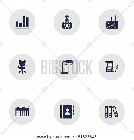 Set Of 9 Service Icons Set.Collection Of File Folder, Mail, Address Book And Other Elements.