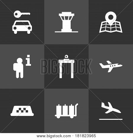 Set Of 9 Airplane Icons Set.Collection Of Transporter Car, Rectifier, Location And Other Elements.