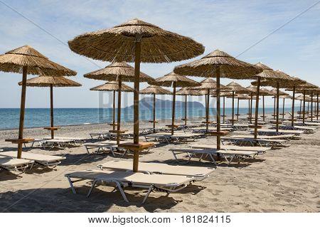Sunshades on the beach at Gerani Crete