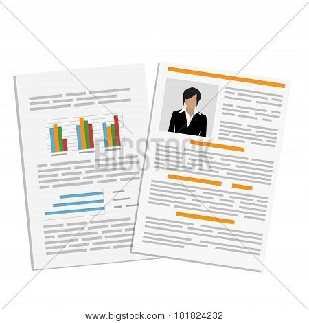 Vector illustration cv or resume report design template with woman photo. Curriculum vitae icon.