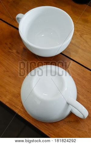 White porcelain egg bowl 7 oz. size for coffee or tea.