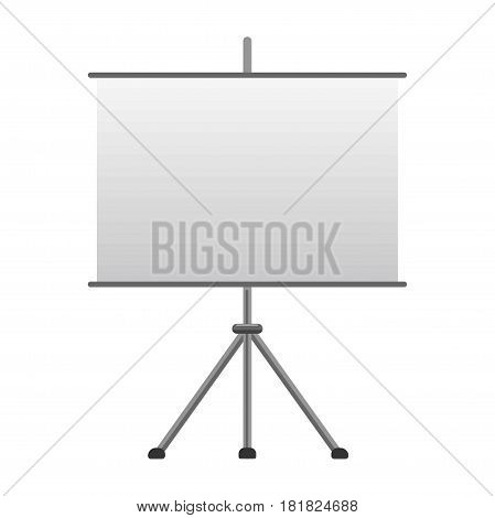 Advertising tripod board with blank paper isolated vector illustration on white background. Demonstration or preparation empty flip-chart billboard, exhibition display equipment in flat design