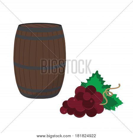 Wine Barrel And Grapes