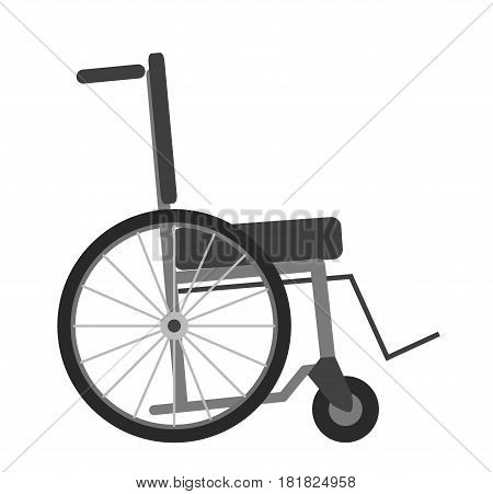 Wheelchair isolated on white background vector illustration. Transportation chair for disabled people, necessary ambulance equipment, manual self-propelled wheelchairs in flat style design