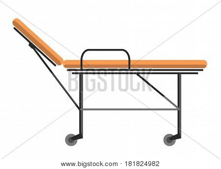 Gurney wheeled stretcher used for transporting hospital patients isolated on white vector illustration. Professional urgency medical bedstead, transportation bed for disabled patients in flat style