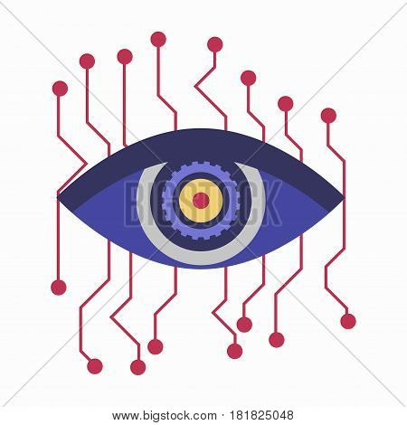 Artificial intelligence eye with connection points isolated on white background. Human eyeball with high-tech contacts, futuristic symbol of male eyesight, clinic logo design in flat style design
