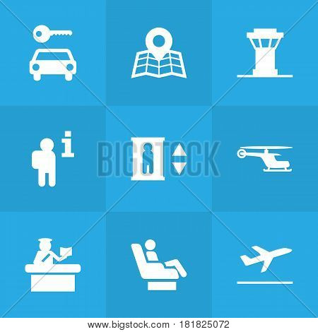 Set Of 9 Airplane Icons Set.Collection Of Tower, Chopper, Leaving And Other Elements.