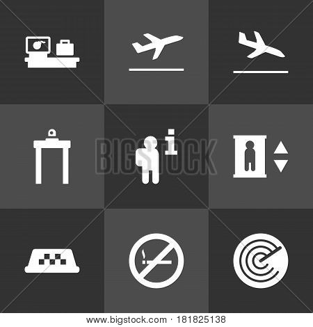 Set Of 9 Airplane Icons Set.Collection Of Resolver, Radiolocator, Leaving And Other Elements.