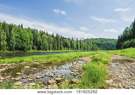 Beautiful summer landscape with a river in the wilderness. The river Usva Russia Perm Krai