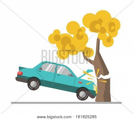 Car crash accident in tree flat vector illustration. Blue automobile driven into tall wood with yellow leaves colorful picture on white. Negligence of drivers on roads that leads to emergencies