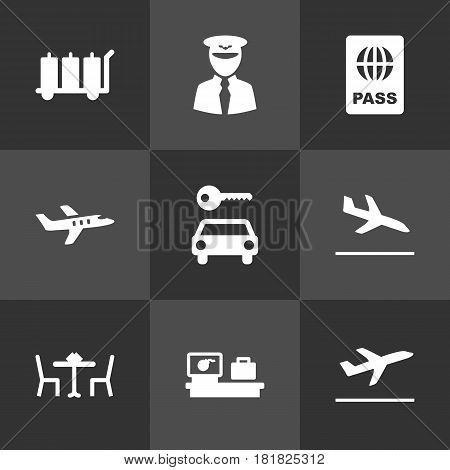 Set Of 9 Aircraft Icons Set.Collection Of Resolver, Aircraft, Restaurant And Other Elements.