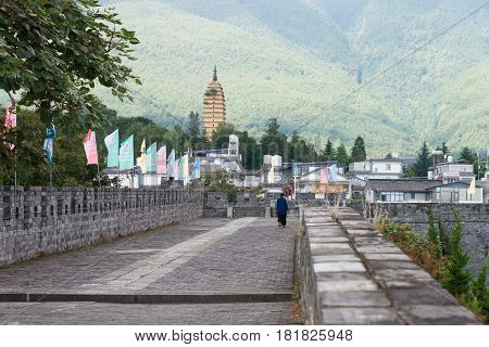 Dali, China - Aug 31 2014: City Wall At Dali Old Town. A Famous Landmark In The Ancient City Of Dali